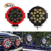 OKEEN barre lumineuse de travail LED, lampe anti brouillard, pour voiture, camion tout terrain, pour tracteur, ATV SUV, puissance Led ronde, 7 pouces, 51W, Led, 12V 24V