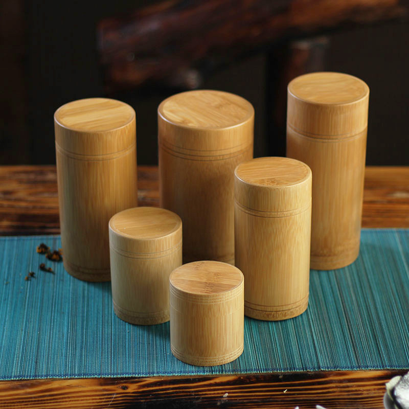 6 Size Vintage Bamboo Tea Box Storage Box Tea Canister Boxes Tea Jar Caddy Seal Storage Bottle Case Handmade Organizer Spice Jar