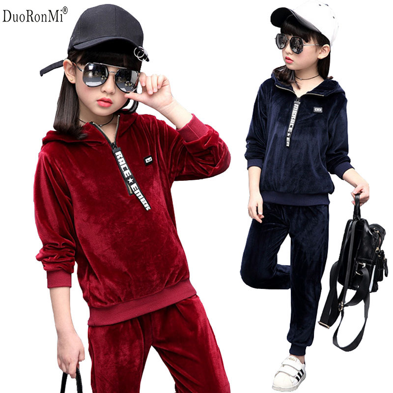 DuoRonMi Spring Autumn Girls Clothes Hooded Kids Jacket+Pants Velvet Tracksuit For Girls Sport Suit Casual Children Clothing Set