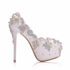 Image 3 - クリスタル女王の結婚式の靴の花嫁のかかとクリスタルパンプス日イブニングパーティー高級 14 センチメートル平方ヒールプラスサイズ白青 ABcolor