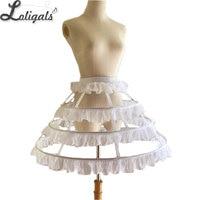 Short 3 Hoop Lolita Petticoat White/Black Crinoline Gothic Petticoat Underskirt for Woman