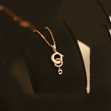 2017 Hot Sale Fashion Double Circle Pendant Necklace Exquisite Chain Clavicle Micro Rose Gold Color Plated