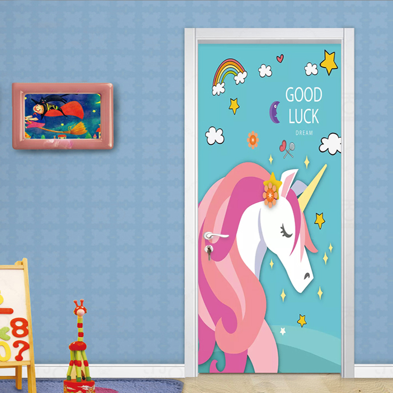 2 Pieces/Set Self-Adhesive Door Sticker 3D Cartoon Wallpaper Kids Bedroom Waterproof Home Decoration Painting Door Decals Poster