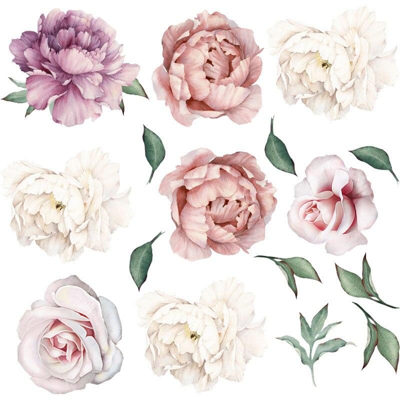 Пион цветок сочетание стикер стены ТВ фон стены гостиной спальни домашний Декор подарок ПВХ Высокое качество стикер s|Наклейки на стену|   | АлиЭкспресс
