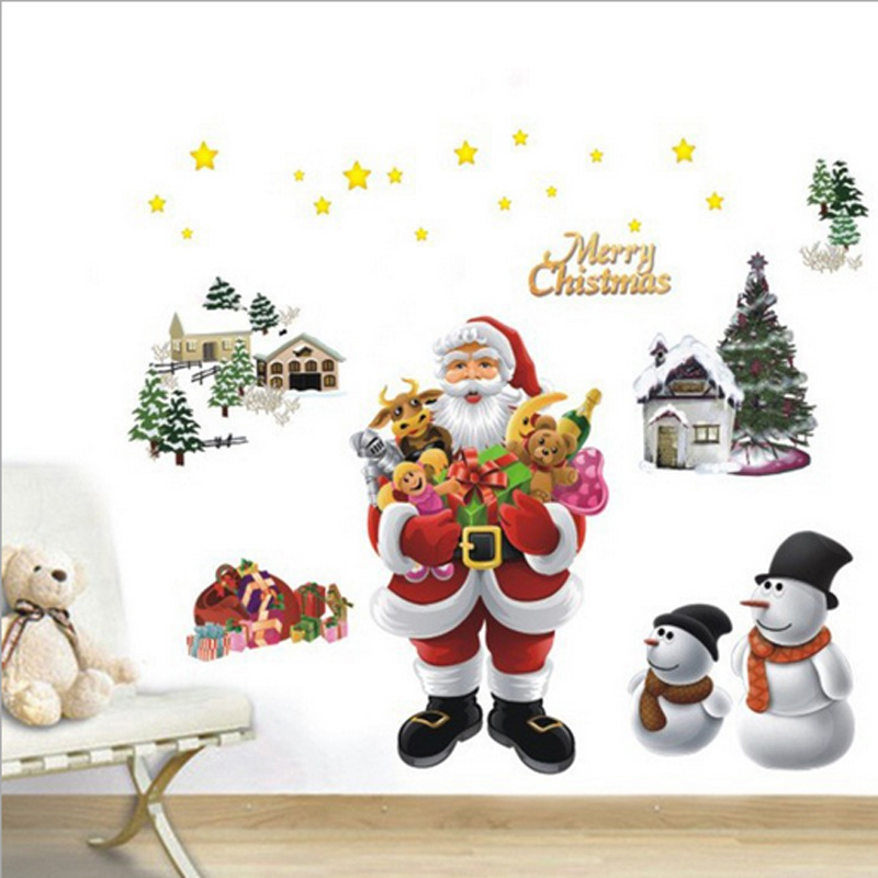 ᐂDIY Merry Christmas Wall Stickers Decoration Santa Claus Wall ...