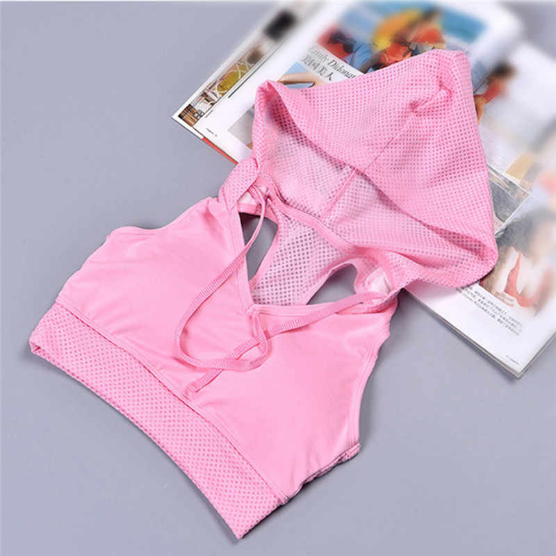 Pink Pulling Rope Shockproof Sports Bra Gym Hoodie Yoga Running Bra Tops Women Fitness Sport Tanks with Hat Sujetador Bralet