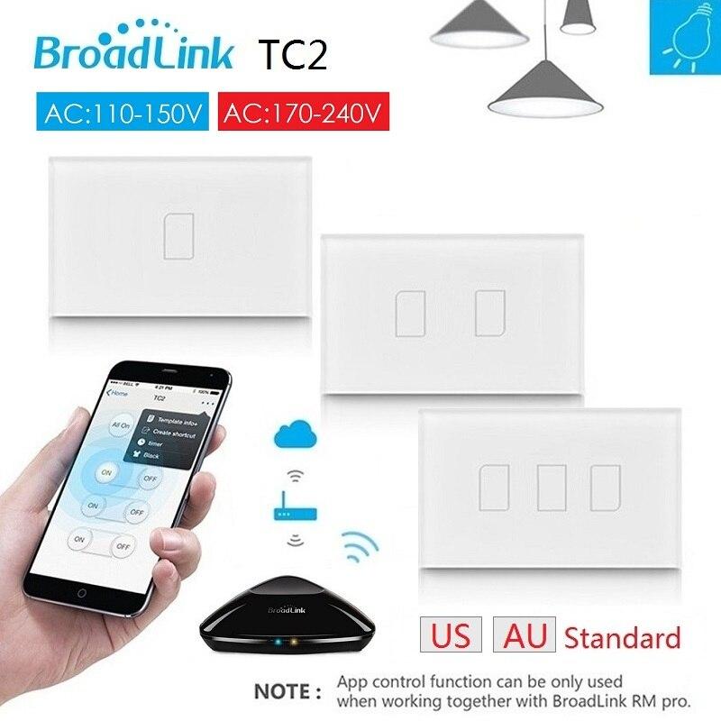 2018 Broadlink TC2 AU US Standard RF à distance Interrupteur travail avec RM Pro, AC110V 220 V, maison intelligente automatisation, Soutien IOS Android Téléphone