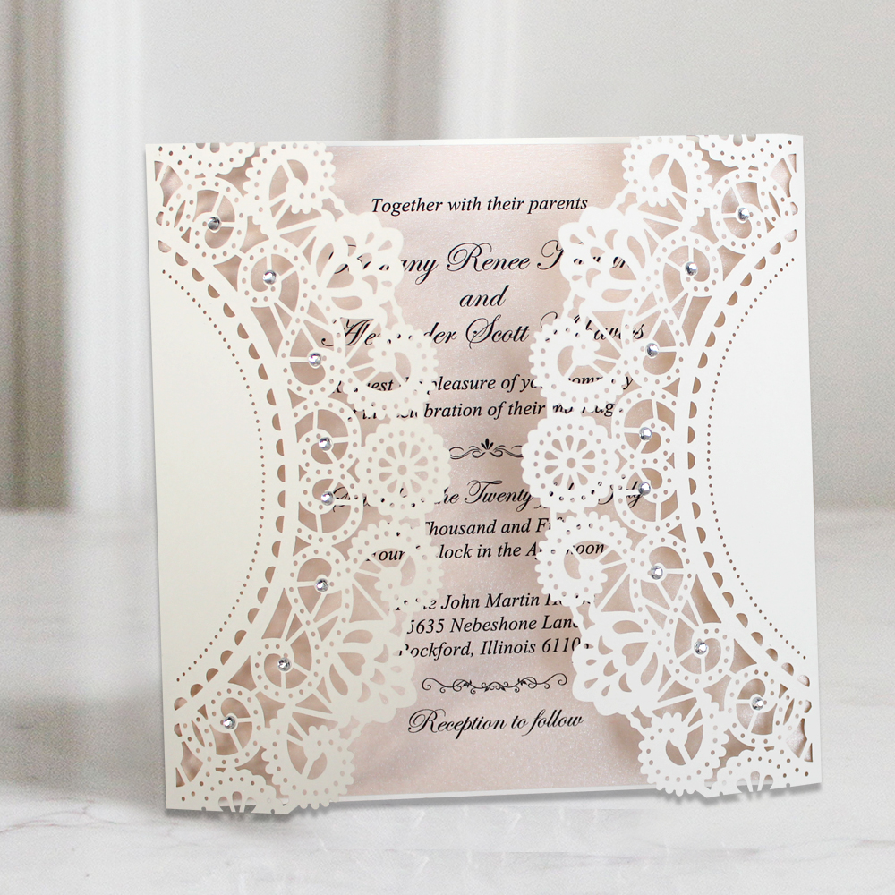 Wedding Invitations With Lace: White Lace Wedding Invitations Customized Invitation Cards