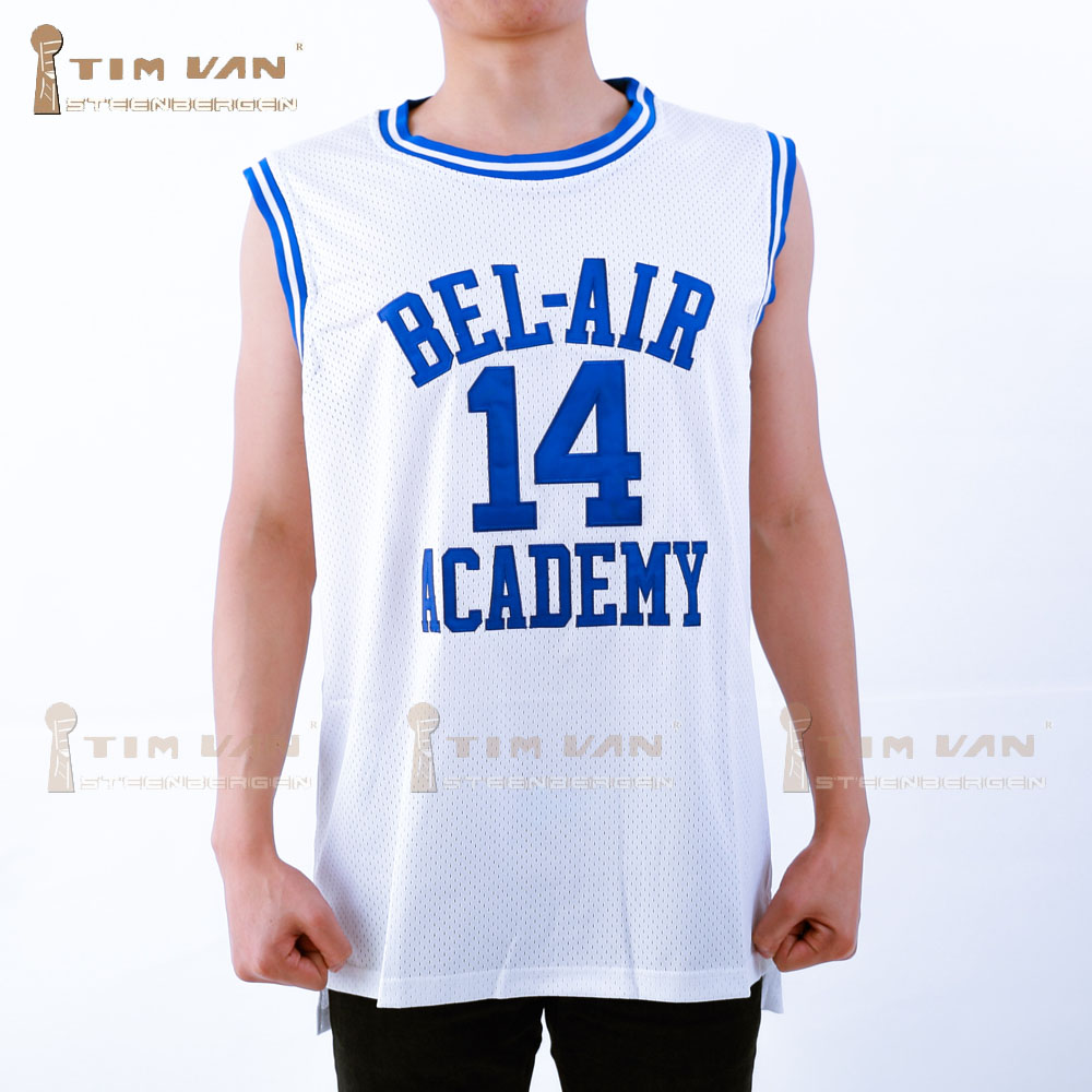 789bc412744 TIM VAN STEENBERGE Will Smith 14 Basketball Jersey Bel-Air Academy Stitched  Sewn-White