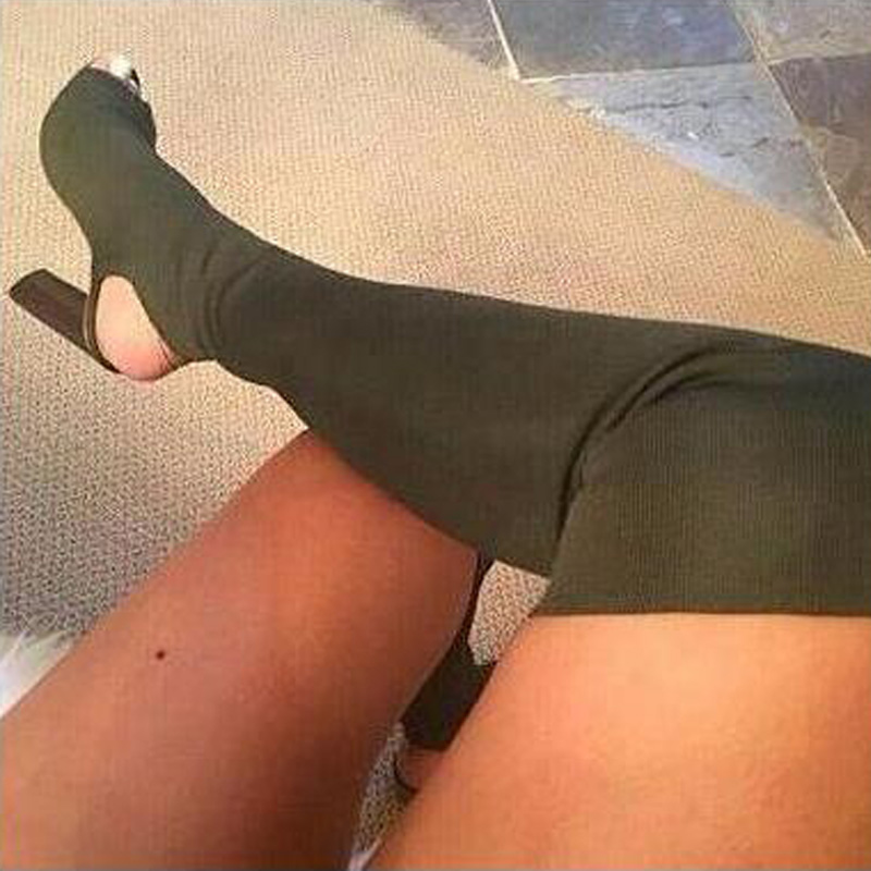 2017 Over the Knee Sock Boots Knit Stretch Women Boots High Heels Shoes Sexy Thigh High Boots Open Toe Long Boots