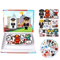 Uniform Figure Magnetic Puzzle Policeman Firefighter Worker Kids Learning Toys