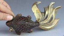 18 CM China Bronze Gilt Fengshui Folk Escultura Estátua de Animal Do Oceano Peixe Peixinho