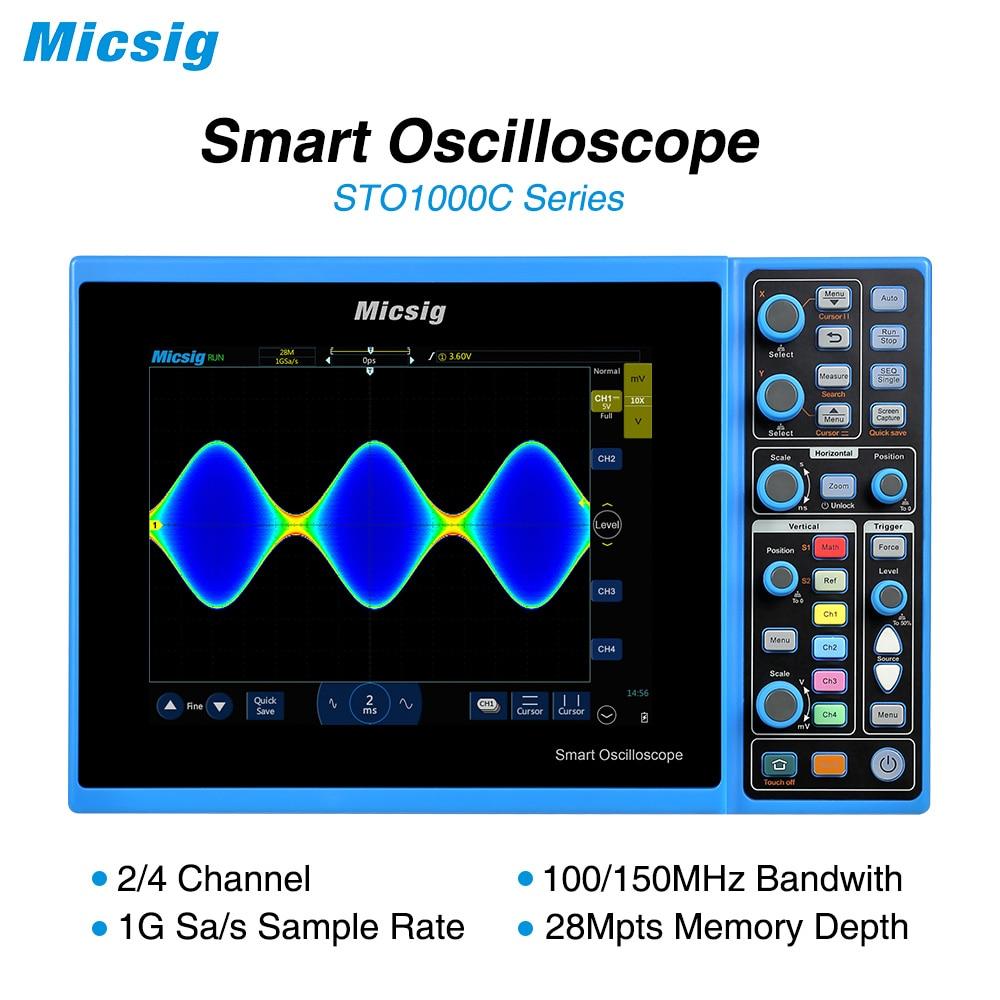 Micsig Osciloscópio 100 MHz Digital Inteligente 2CH 4CH handheld oscilloscope scopemeter osciloscópio automotivo osciloscopio STO1000C