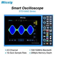Micsig digital inteligente osciloscópio 100 mhz 2ch 4ch handheld osciloscópio automotivo osciloscópio osciloscópio osciloscópio sto1000c