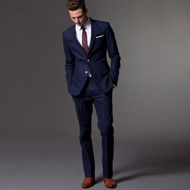 30b70b004c15 Custom Made Dark Blue Men Suit Vestito Su misura Su Misura Luce Blu Navy  Abiti Da