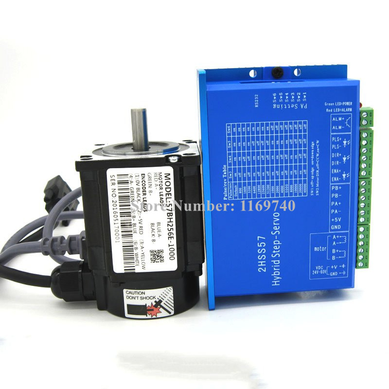 57 closed-loop 57BH256E-1000 DC stepper motor +2HSS57 driver 1N.m Nema 23 Hybird closed loop 2-phase stepper motor driver closed loop stepper motor 57j1854ec 1000 2hss57 driver 0 9n m nema 23 hybrid 2 phase step motor with 3m encoder cable