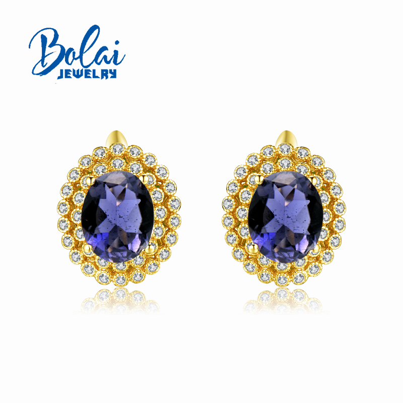 Bolaijewelry Classical style looking earring with natural iolite fine jewelry for women party daily wear nice