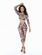 2018 Long Sleeve 2 Pieces Set Women Horror print Halloween Outfit Womens Crop Top And Pants Bodycon Sexy Two for Female