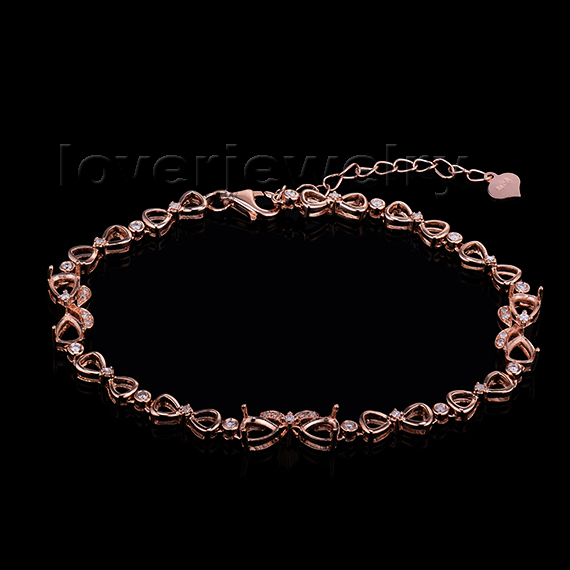 Fashion Women 0.24ctw 18Kt Rose Gold Diamond Semi mount Pear Cut 4x5mm Bracelet NA0034
