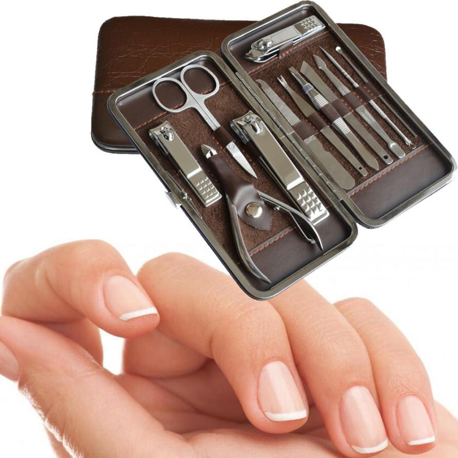 12pcs Manicure Set and kit Pedicure Scissor Tweezer Knife Ear pick Utility Nail Clipper Kit, Stainless steel Nail Care 2017D29 цена 2017