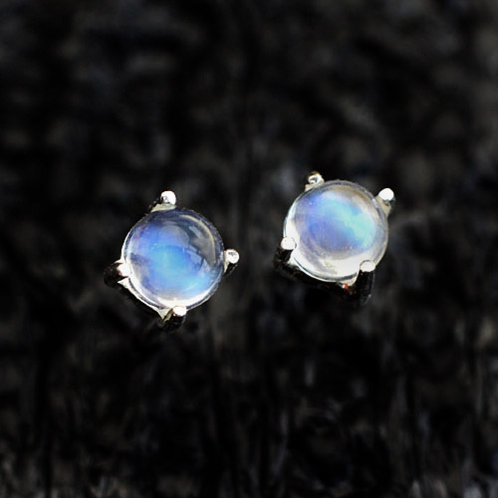 4mm Aaaaa Natural Moonstone Earrings 925 Stering Silver Jewelry Weight Loss Slimming Health For Women In From Accessories
