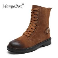 MangoBox Uomini Mid-Calf Boots Grigio Marrone Ragazzi Calzature Lavoro Primavera della Gioventù Tactical Boots Classic Marca Adulto Scarpe Da Tennis Piane