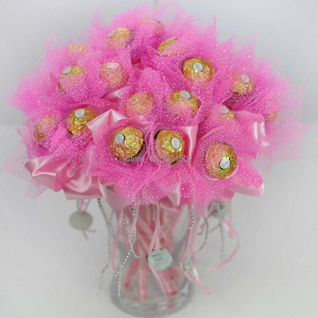 20pc Lot Pink Creative Gifts Chocolate Candy Bouquet Ferrero Packing