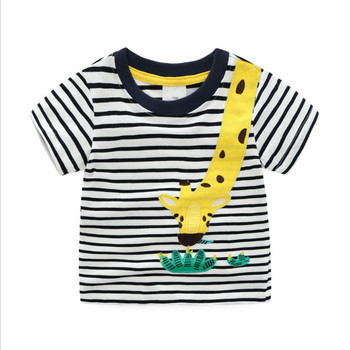 18m-6T different sizes Striped applique promotion T shirts for boys animal hot children clothes Jumping meters summer boys Tees