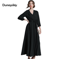 Brand Women long Dress hot sale 2019 Autumn Winter Russian Style Party Dresses Long Ankle Length Elegant vestidos Dunayskiy