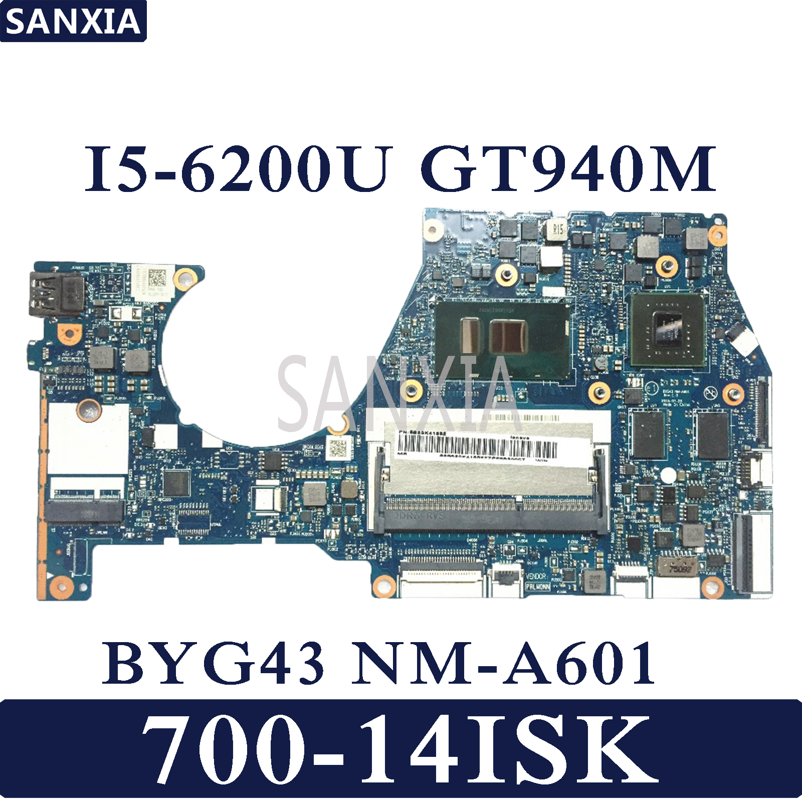 KEFU BYG43 NM-A601 Laptop motherboard para Lenovo YOGA 700-14ISK mainboard original I5-6200U GT940MX