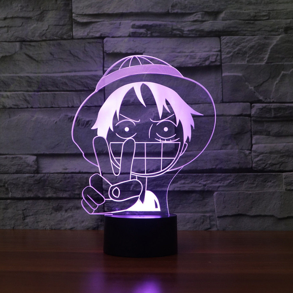 3D Luffy Table Lamp LED Baby Sleep Lighting Colorful Gradient Anime NightLight Bedroom Decor One Piece Light Fixture Child Gifts