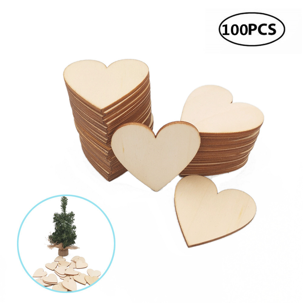 DIY Craft Decor for Wedding Party Ornaments Valentine Christmas Embellishment Table Scatter Handcraft Card Making 50 Pcs Unfinished Slices Wooden Blank Love Hearts 30mm