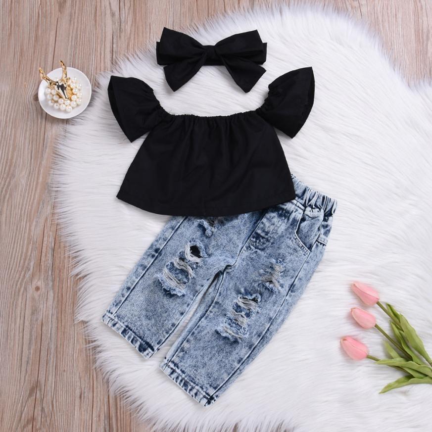 HTB1E55VL3HqK1RjSZJnq6zNLpXai - 2Pcs Fashion Girls Clothes Set Off Shoulder Tops T-Shirts Denim Pants Ripped Jeans Set Summer Baby Bebes Children Clothing Set