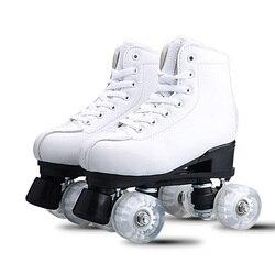 Japy Patins Dupla Linha de Couro Artificial Mulheres Homens Adulto Dois Linha De Patinação Sapatos Patins Patines Com Branco PU 4 rodas