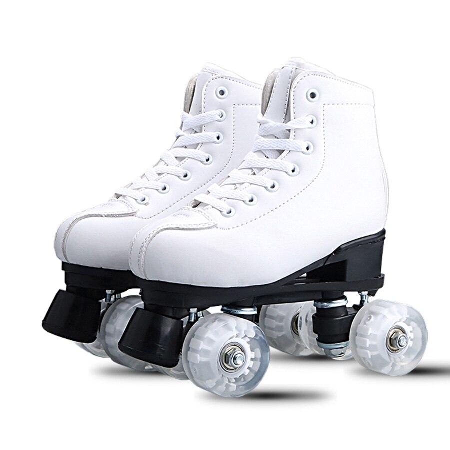 Japy patins à roulettes en cuir artificiel Double ligne patins femmes hommes adulte deux lignes chaussures de patinage Patines avec blanc PU 4 roues