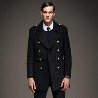 Icpans Зимняя шерстяная одежда куртка Для мужчин Горох Бизнес теплый толстый зеленый двубортный длинные Шерстяное пальто Для мужчин Овес и См