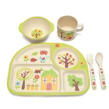 Infants Separation Feeding Tray Dinnerware Set for Kids Safe Material Clean after One Rinse Effectively Avoid Bacterial Residues(China)