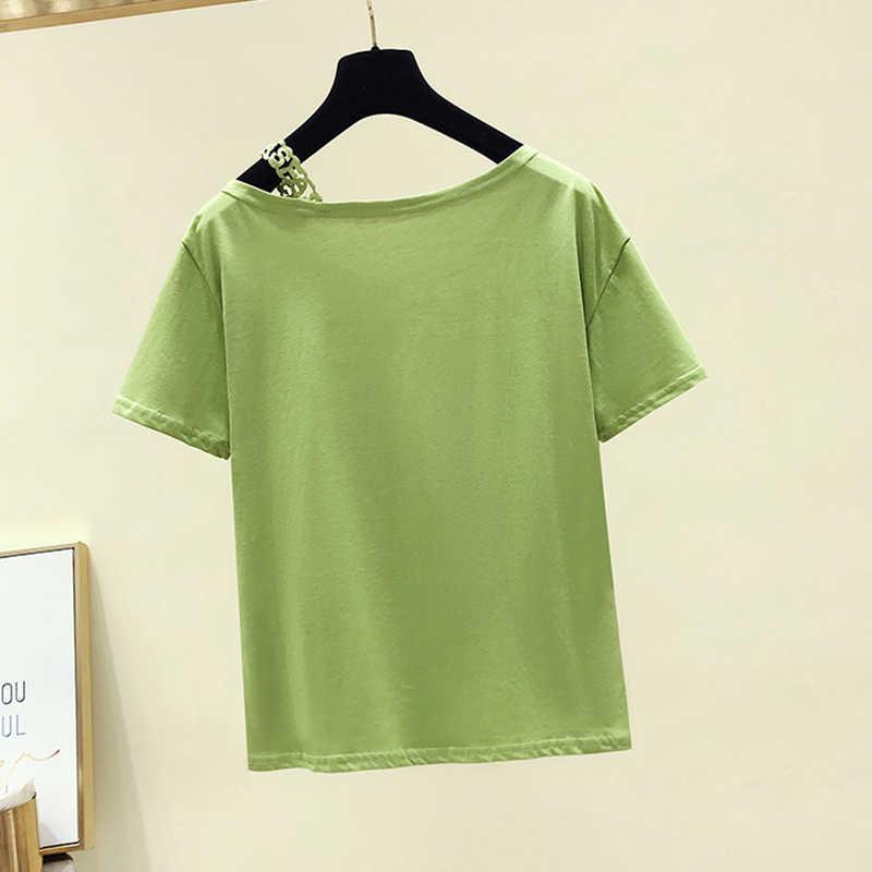 Gkfnmt קוריאה מגניב T חולצת נשים סלאש צוואר קיץ קצר שרוול אפליקציות תחרה סקסית חולצת טי חולצות מקרית שחור טי חולצה femme