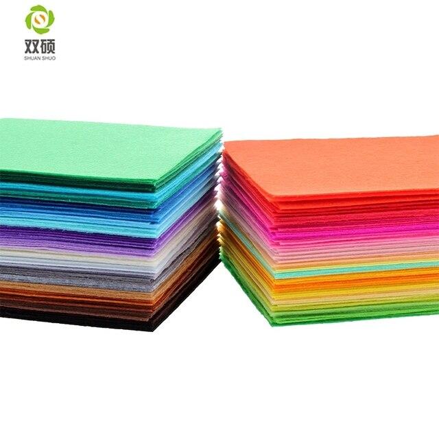 Shuanshuo 1 MM Không Dệt Vải Polyester Vải Nỉ Cho DIY Trang Trí Nội Thất Bó Cho May Búp Bê Thủ Công Mỹ Nghệ 40 cái/lốc 15x15 cm