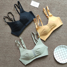 Sexy glossy bra sets Soft Seamless Bra and Panty Set Wire Free Underwear Women Solid Color Push Up hollow out Bras panties