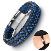 2019 Fashion Men Jewelry Punk Braided Leather Bracelet for Men Stainless Steel Magnetic Clasp Black Blue Bangles armband jiayiqi punk men jewelry braided leather bracelet stainless steel magnetic clasp fashion bangles 22cm