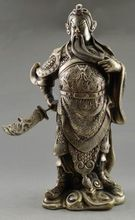 Collectible Decorated Old Tibet Silver Carved Guan Di Hold Kn1fe Exorcism Statue