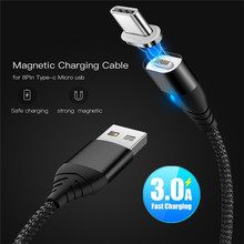 цена 3A Magnetic USB Cable For iPhone X Type C Micro USB Cable Fast Charging Magnet Charger USB C Cable For Samsung Huawei Xiaomi Mi8
