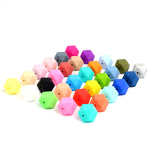 Colorful 50pc Loose Silicone Beads Large Small Hexagon 17mm 14mm Jewelry Beads BPA Safe font b