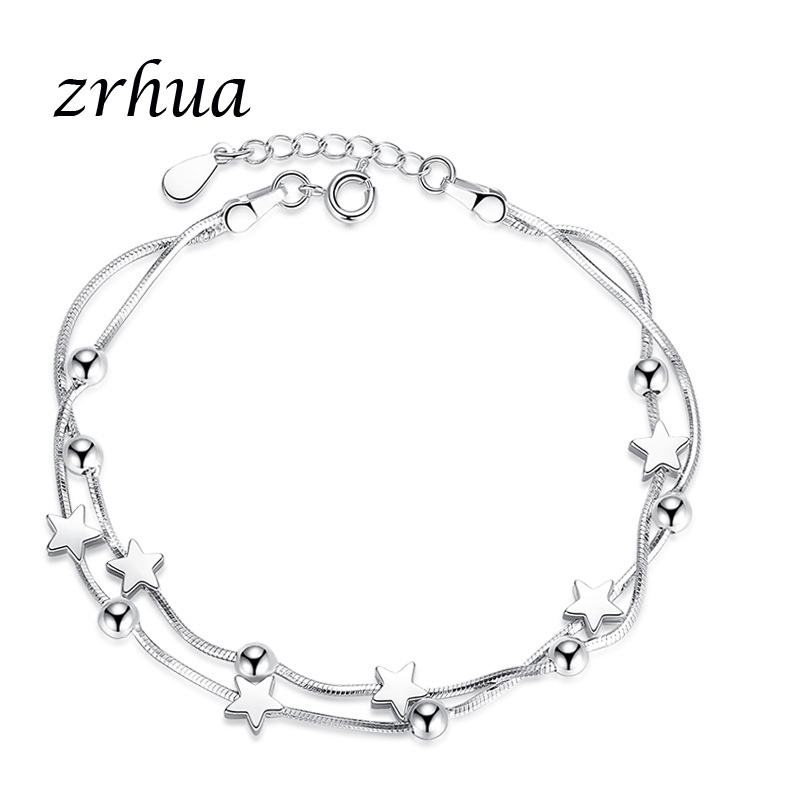 ZRHUA Silver 925 Jewelry Women Bracelet for Wedding Shiny Zircon Crystal Star/Square/Round Shape Bijoux Female Bangles for Party
