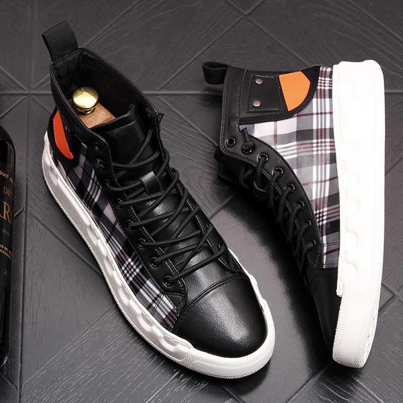 Stephoes ラグジュアリーブランドアンクルブーツ春秋高トップ男性の加硫快適なスニーカーウォーキングレジャー靴