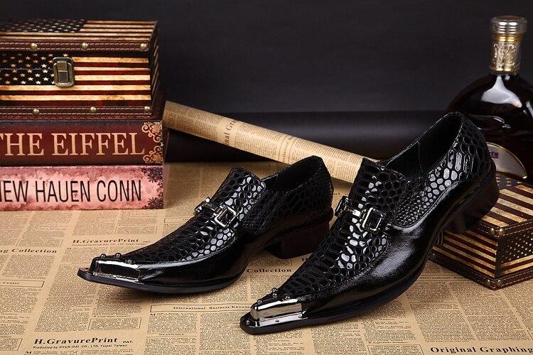 Los En Cuero Japanned Hombres Slip Estrecha Negro Oxford De Punta Ascensor Formal Zapatos Remaches Boda n0qqxYTE