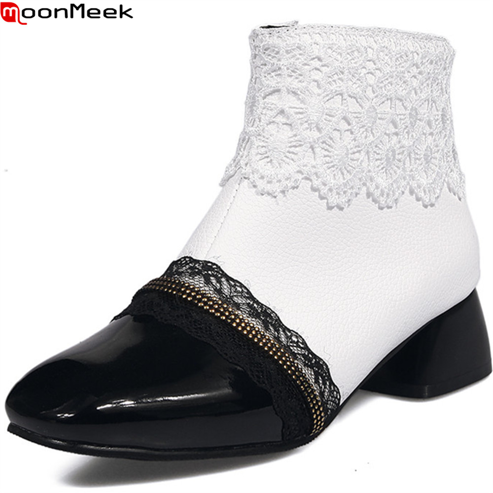 MoonMeek fashion new arrive women boots black white high quality pu ladies boots square toe zipper sexy ankle boots big size luxury good quality new fashion women zipper jumpsuit slim fit skinny jeans rompers pocket denim jumpsuits size sexy girl casual