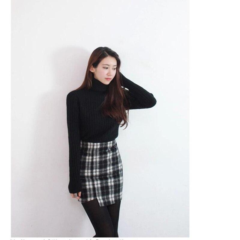 Style coréen nouveau col roulé tricoté pull femmes chandail plein solide coton chandail régulier paragraphe haut d'automne 220 - 3