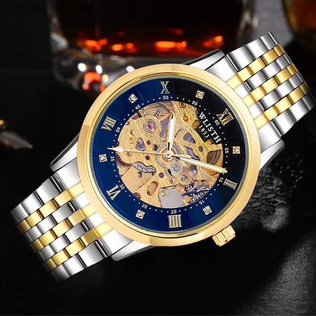 WLISTH New Watch Men Skeleton Automatic Mechanical Watch Gold Skeleton Vintage Man Watch Mens FORSINING Watch Top Brand Luxury 1